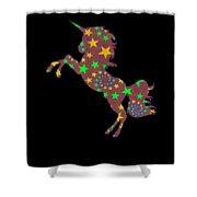 Rainbow Spiral Star Unicorn Design Poop Emoji Shower Curtain