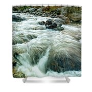 River Water Flowing Through Rocks At Dawn Shower Curtain