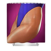 Sexy Young Woman In High Cut Swimsuit Shower Curtain