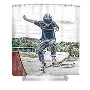 skate park day, Skateboarder Boy In Skate Park, Scooter Boy, In, Skate Park Shower Curtain