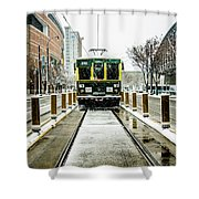 Streetcar Waiting For Passengers In Snowstrom In Uptown Charlott Shower Curtain