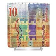 10 Swiss Franc Pop Art Bill Shower Curtain
