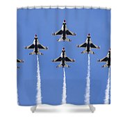 Us Air Force Thunderbirds Flying Preforming Precision Aerial Maneuvers Shower Curtain