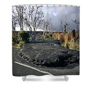 100925 Lava Flow On Road Hi Shower Curtain
