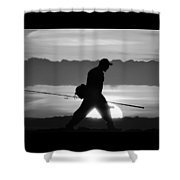 11-2-17--3904 Black And White, Don't Drop The Crystal Ball Shower Curtain