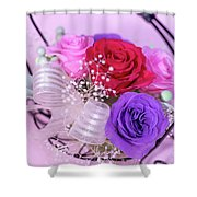 A Gift Of Preservrd Flower And Clay Flower Arrangement, Colorful Shower Curtain