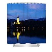 Dusk Over Lake Bled Shower Curtain