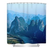 Karst Mountains And Lijiang River Scenery Shower Curtain