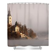Misty Lake Bled Shower Curtain