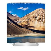 Mountains Pangong Tso Lake Leh Ladakh Jammu And Kashmir India Shower Curtain