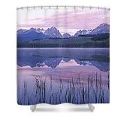 Reflection Of Mountains In A Lake Shower Curtain