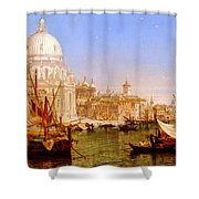 selous Henry Courtney A View Along The Grand Canal With Santa Maria Della Salute Henry Courtney Selous Shower Curtain