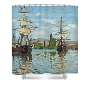 Ships Riding On The Seine At Rouen Shower Curtain