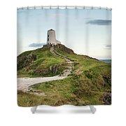 Stunning Summer Landscape Image Of Lighthouse On End Of Headland Shower Curtain