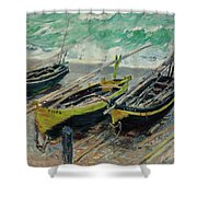 Three Fishing Boats Shower Curtain