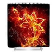 112775 Flowers Fire Shower Curtain