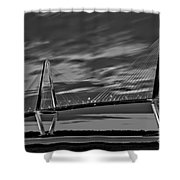 Ravenel Bridge Black And White Sunset Shower Curtain