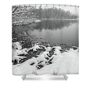 Snow Covered Landscapes In Belmont North Carolina Along Catawba  Shower Curtain