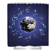 12 Zodiac Constellations Shower Curtain