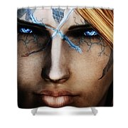 120941 The Elder Scrolls V Skyrim Wizard Blue Eyes Shower Curtain