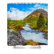 Nature Oil Canvas Landscape Shower Curtain