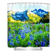 Nature Landscape Graphics Shower Curtain