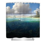 128098 Artwork Sea Fish Clouds Rock Formation Split View Shower Curtain