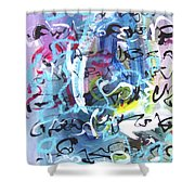 Abstract Calligraphy Shower Curtain