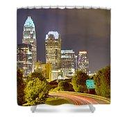 Downtown Of Charlotte  North Carolina Skyline Shower Curtain