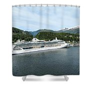 ketchikan alaska downtown of a northern USA town Shower Curtain