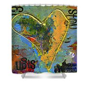 13 Of Hearts Stop Sign, Heartache Series. Shower Curtain