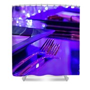 Party Setting With Colorful Bokeh Background Shower Curtain
