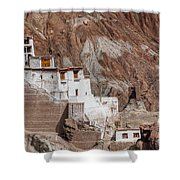 Ruins At Basgo Monastery Shower Curtain