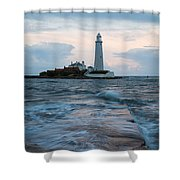 Saint Mary's Lighthouse At Whitley Bay Shower Curtain
