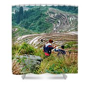 Longji Terraced Fields Scenery Shower Curtain