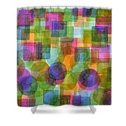 Befriended Squares And Bubbles Shower Curtain