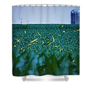 1306 - Fireflies - Lightning Bugs Over Corn Shower Curtain