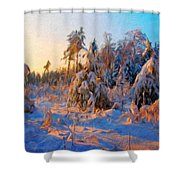 Nature Scenery Oil Paintings On Canvas Shower Curtain
