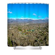 Aerial View On Mountains And Landscape Covered In Snow Shower Curtain