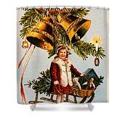 American Christmas Card Shower Curtain
