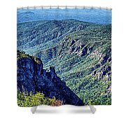 Hawksbill Mountain At Linville Gorge With Table Rock Mountain La Shower Curtain