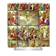 14 Stations Of The Cross Shower Curtain