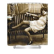 Vintage Nude Postcard Image Shower Curtain