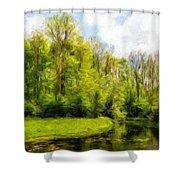 Nature Landscape Lighting Shower Curtain