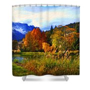 Nature Landscape Paintings Shower Curtain
