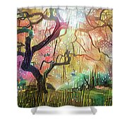 15 Abstract Japanese Maple Tree Shower Curtain