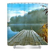 Acrylic Landscape Painting Shower Curtain