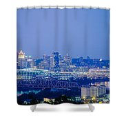 Buildings In A City Lit Up At Dusk Shower Curtain