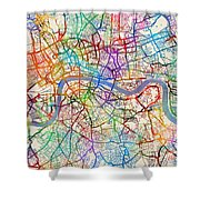 London England Street Map Shower Curtain