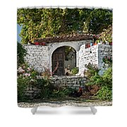 Street In Berat Old Town In Albania Shower Curtain